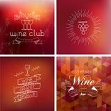 Sistema del fondo de la etiqueta del vintage del bar de vinos Foto de archivo libre de regalías