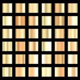 Sistema del fondo de la textura de la hoja de oro Imagenes de archivo