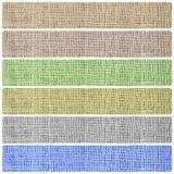 Sistema del fondo de las banderas de la textura del textil de la arpillera Imagen de archivo