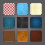Sistema del fondo de los iconos del App. Iconos brillantes del botón del Web. Foto de archivo
