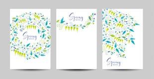 Sistema del fondo del vector de las flores y de las hierbas de la primavera Fotos de archivo libres de regalías