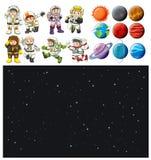 Sistema del fondo y del astronauta del espacio libre illustration