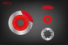 Sistema del freno de disco del coche con el calibrador rojo Fotos de archivo