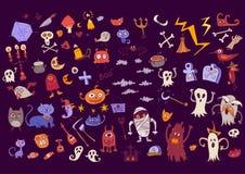 Sistema del garabato de Halloween de los elementos asustadizos por días de fiesta Foto de archivo