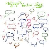 Sistema del garabato de la burbuja del vector, bosquejo Imagen de archivo libre de regalías