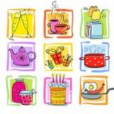 Sistema del garabato de la comida y de las mercancías ilustración del vector