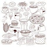 Sistema del garabato de la comida y de las mercancías stock de ilustración