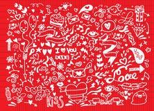 Sistema del garabato de la tarjeta del día de San Valentín, elemento del amor del drenaje de la mano Imágenes de archivo libres de regalías