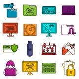 Sistema del garabato de los iconos de la actividad criminal libre illustration