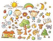 Sistema del garabato de objetos a partir de la vida de un niño ilustración del vector