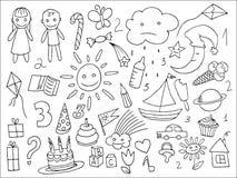 Sistema del garabato de objetos a partir de una vida de los childs Imagenes de archivo