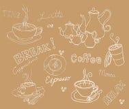 Sistema del garabato del café Foto de archivo libre de regalías