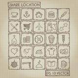Sistema del garabato del icono de la ubicación de la parte Imagen de archivo libre de regalías