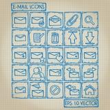 Sistema del garabato del icono del email Imágenes de archivo libres de regalías