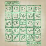 Sistema del garabato del icono del jugador de música Foto de archivo libre de regalías