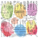 Sistema del garabato del jardín de la primavera Herramientas, plantas watercolor Fotos de archivo