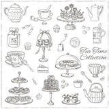 Sistema del garabato del tiempo del té bosquejo Fotografía de archivo libre de regalías