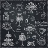 Sistema del garabato del tiempo del té bosquejo Fotos de archivo