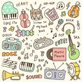 Sistema del garabato lindo del instrumento de música y del jugador de música libre illustration