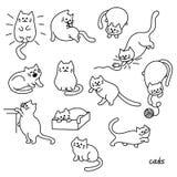 Sistema del gato lindo Ejemplo del vector del animal de animal doméstico Foto de archivo