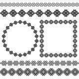 Sistema del geométrico étnico más popular alrededor y marcos y divisores cuadrados Fotos de archivo