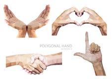 Sistema del gesto de manos poligonal aislado en el fondo blanco ilustración del vector