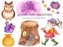 Sistema del gnomo, búhos, casas del tocón, cristales, un bolso de la acuarela del tesoro stock de ilustración