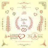 Sistema del gráfico de la boda Fotografía de archivo libre de regalías