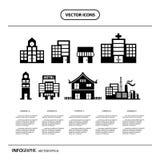 sistema del gráfico de la información del icono de los edificios Foto de archivo