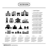 sistema del gráfico de la información del icono de los edificios Fotografía de archivo