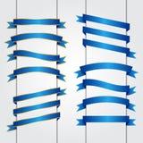 Sistema del gráfico de vector de las banderas de la cinta azul Imágenes de archivo libres de regalías