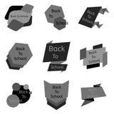 Sistema del gris nueve de nuevo a insignias de escuela Foto de archivo