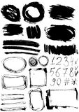Sistema del Grunge de manchas y de números de la pintura efectos sucios de la decoración Foto de archivo libre de regalías