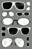 Sistema del grunge del vector de vidrios retros Fondo de los vidrios Fotografía de archivo libre de regalías