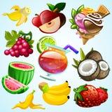 Sistema del helado y del cóctel coloridos de la fruta Foto de archivo