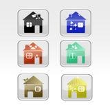 Sistema del hogar amistoso del eco Iconos coloridos de la casa Foto de archivo