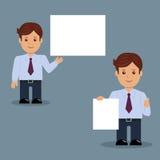 Sistema del hombre de negocios con la bandera blanca en blanco en la diversa acción Imagen de archivo
