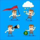 Sistema del hombre de negocios Ejemplo de la historieta del vector - sistema del hombre de negocios Carácter feliz corriente del  Foto de archivo libre de regalías