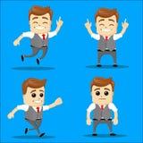 Sistema del hombre de negocios Ejemplo de la historieta del vector - sistema del hombre de negocios Carácter feliz corriente del  Imagen de archivo libre de regalías