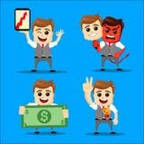 Sistema del hombre de negocios Ejemplo de la historieta del vector - sistema del hombre de negocios Carácter feliz corriente del  Imágenes de archivo libres de regalías