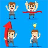 Sistema del hombre de negocios Ejemplo de la historieta del vector - sistema del hombre de negocios Carácter feliz corriente del  Fotografía de archivo