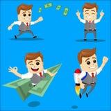 Sistema del hombre de negocios Ejemplo de la historieta del vector - sistema del hombre de negocios Carácter feliz corriente del  Fotos de archivo libres de regalías