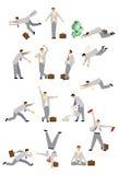 Sistema del hombre de negocios en diversas actitudes Imagen de archivo