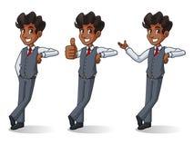 Sistema del hombre de negocios en el soporte del chaleco que se inclina contra ilustración del vector