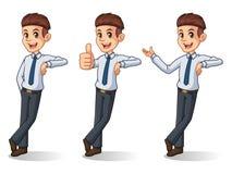 Sistema del hombre de negocios en el soporte de la camisa que se inclina contra stock de ilustración
