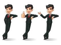 Sistema del hombre de negocios en el soporte negro del traje que se inclina contra ilustración del vector