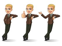 Sistema del hombre de negocios rubio en el soporte marrón del traje que se inclina contra libre illustration