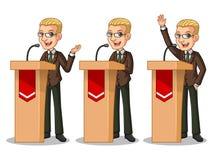 Sistema del hombre de negocios rubio en el traje marrón pronunciar un discurso detrás de la tribuna ilustración del vector