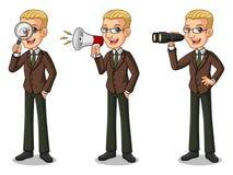 Sistema del hombre de negocios rubio en el traje marrón que busca actitudes stock de ilustración