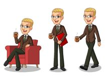 Sistema del hombre de negocios rubio en el traje marrón que hace una rotura con la consumición de un café ilustración del vector